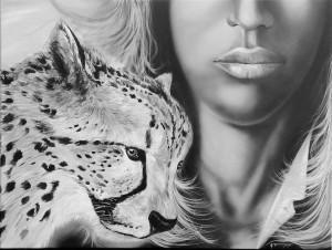 La femme au guépard (acrylic - technique mixte monochrome - 80 x 60)